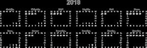 Сетка календаря на 2018 год
