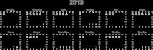 Сетка календаря на 2019 год