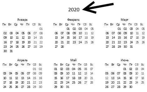 вечный календарь в Excel
